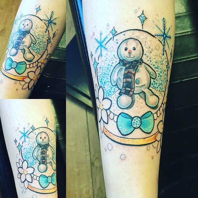 Snowglobe Snowman Tattoo by Toni Gwilliam
