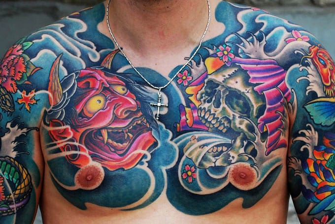 15 Striking Japanese Chest Tattoos