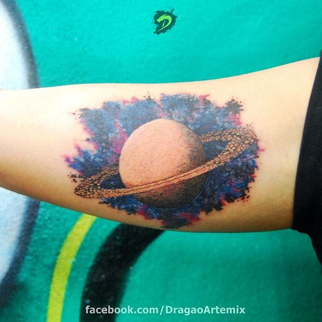 Awesome Saturn Tattoo by David Barreto