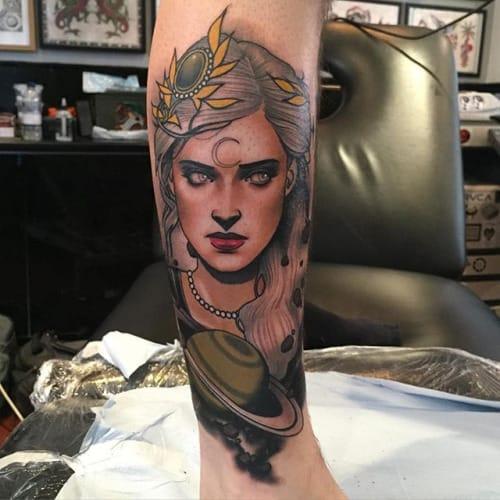 Saturn Woman Tattoo by Dan Molloy