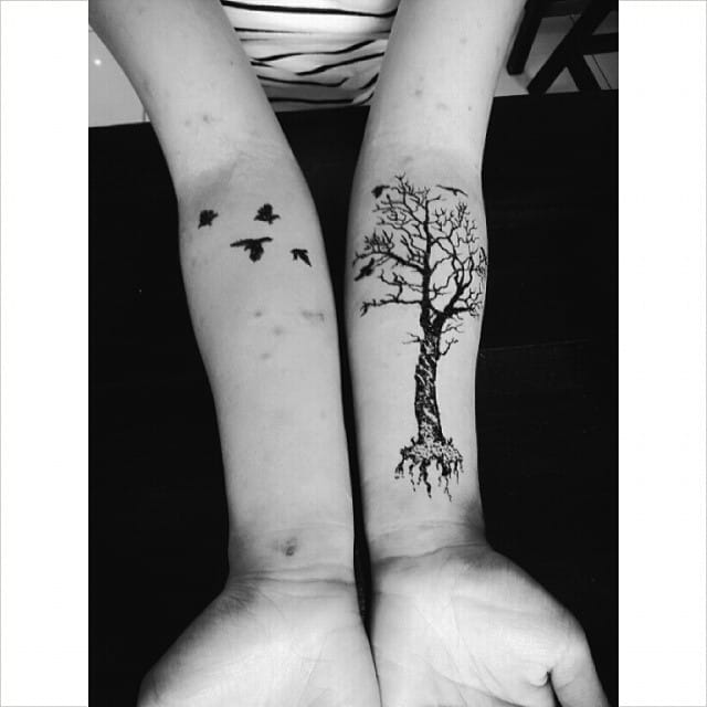 Popular tree and flying bird silhouette henna tattoo designs. Photo from Instagram thesteadyhands #tree #henna