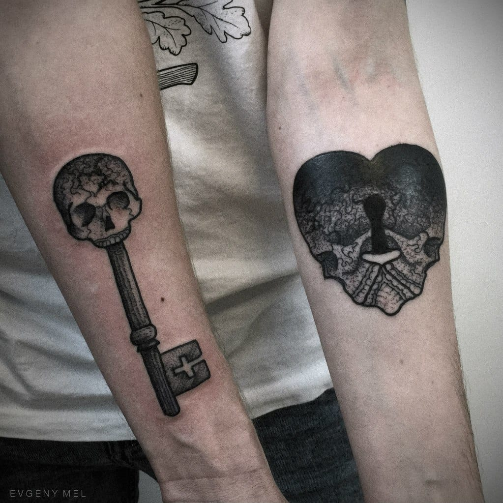Matching tattoos by Evgeny Mel.