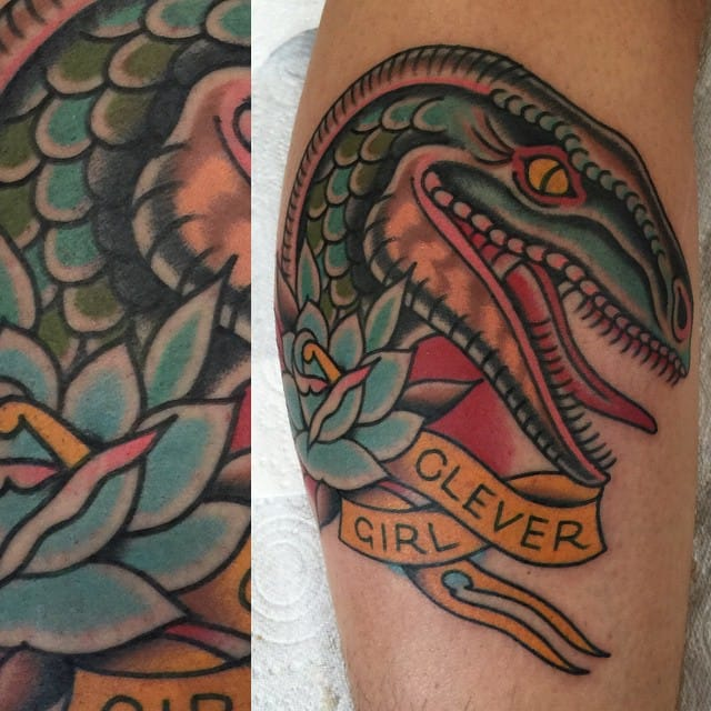 Cool Velociraptor Tattoo by Thomas Arnison