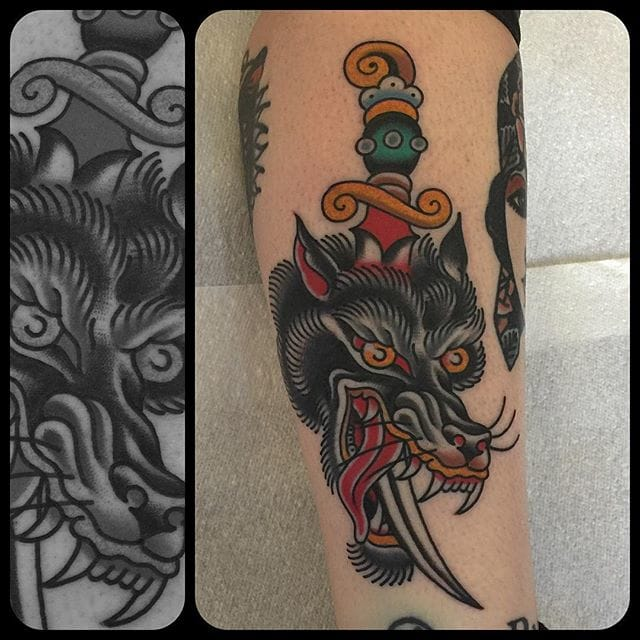 Wolf Dagger Tattoo by Nick Mayes
