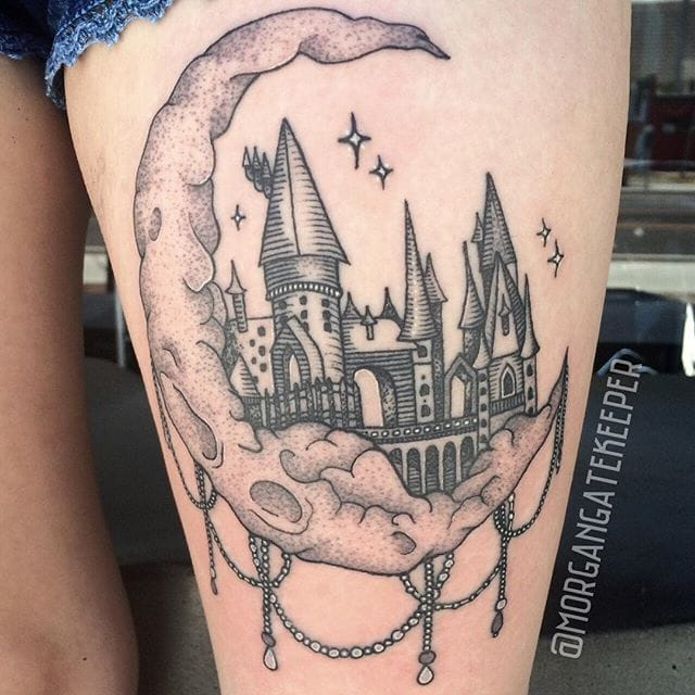 Linework Hogwarts Tattoo by Morgan Gatekeeper
