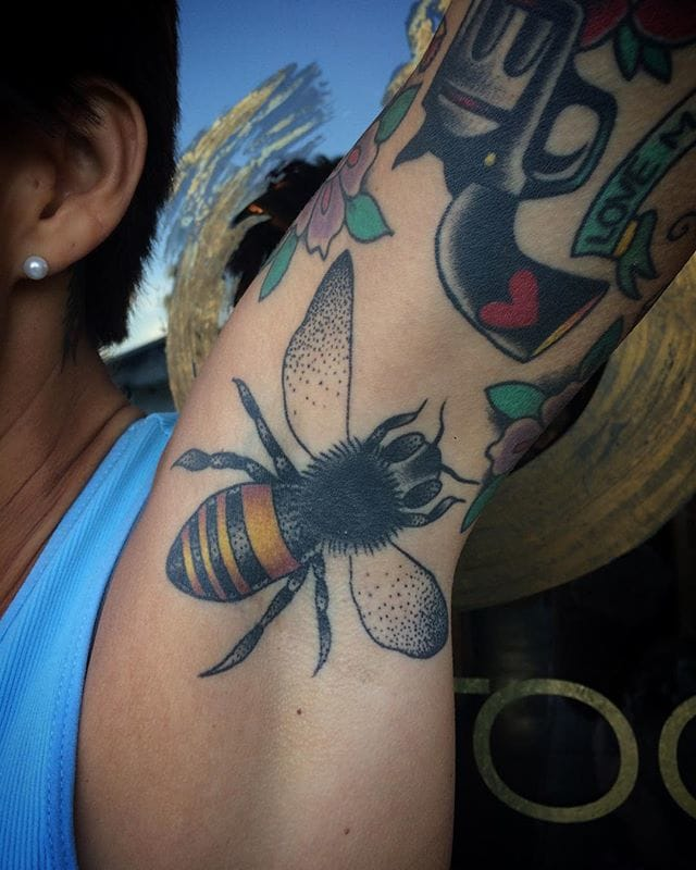 Armpit Bee Tattoo by Michelle Rubano