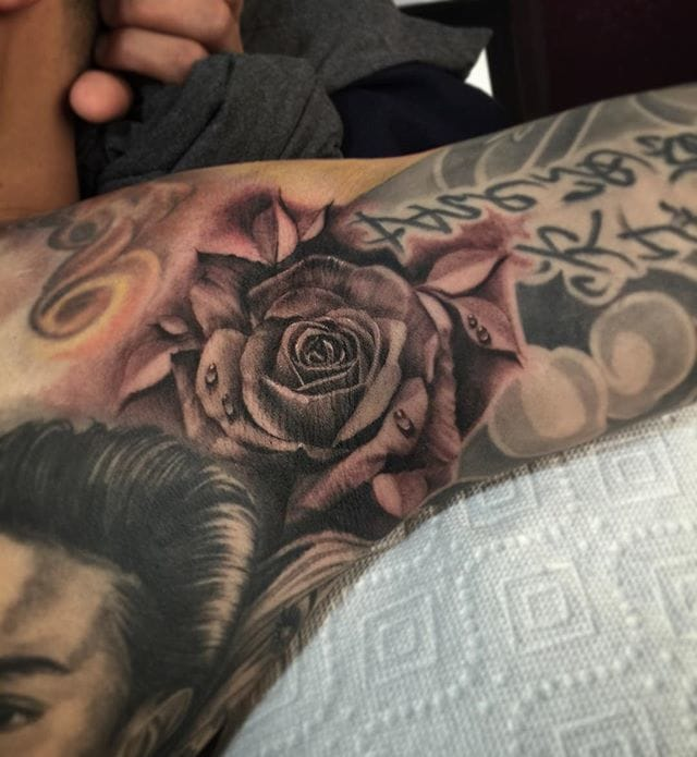 Black and Grey Rose Armpit Tattoo by K12 Tattoos