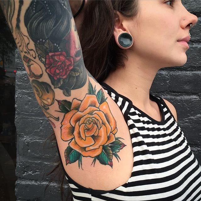 Yellow Rose Armpit Tattoo by Nick Bryant
