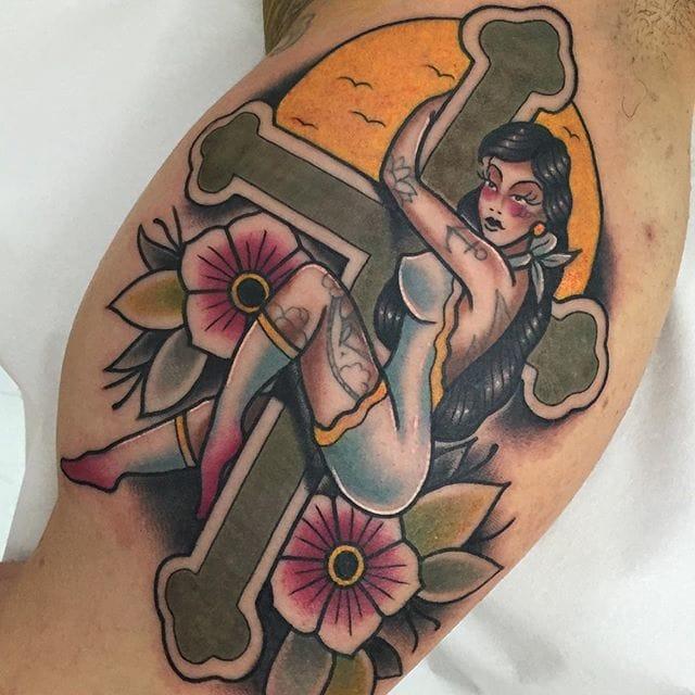 Cross Tattoo by Alvarito Tattoo
