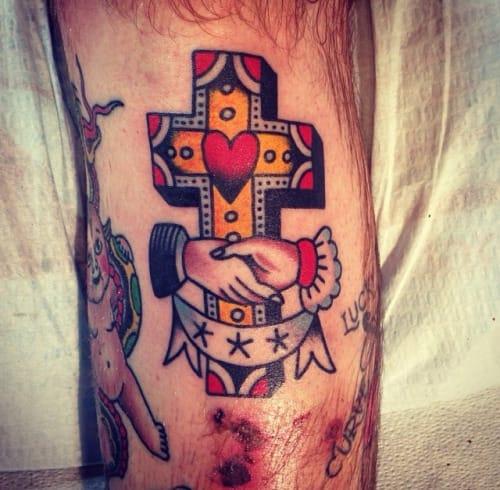 Handshake Cross Tattoo by Nate Hudak