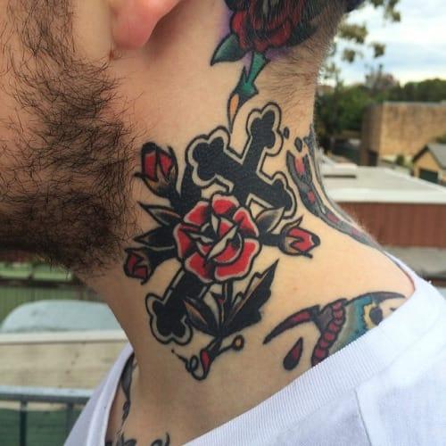 Rose Cross Tattoo by Rich Hardy