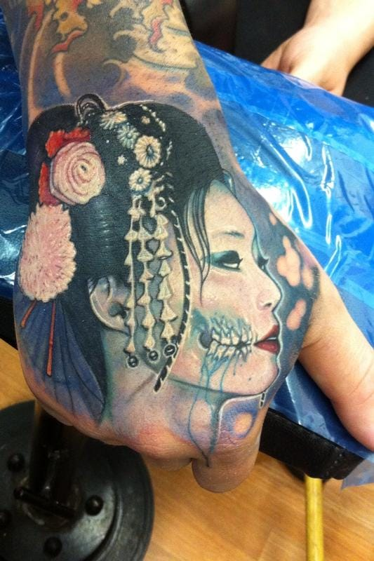 Geisha Hand Tattoo by Matt Driscoll