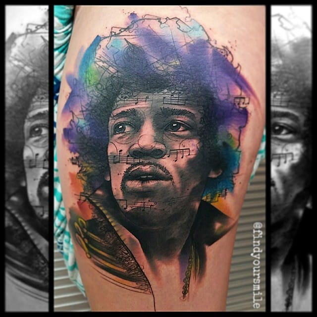 Awesome Jimi Hendrix Tattoo by Russell Van Schaick
