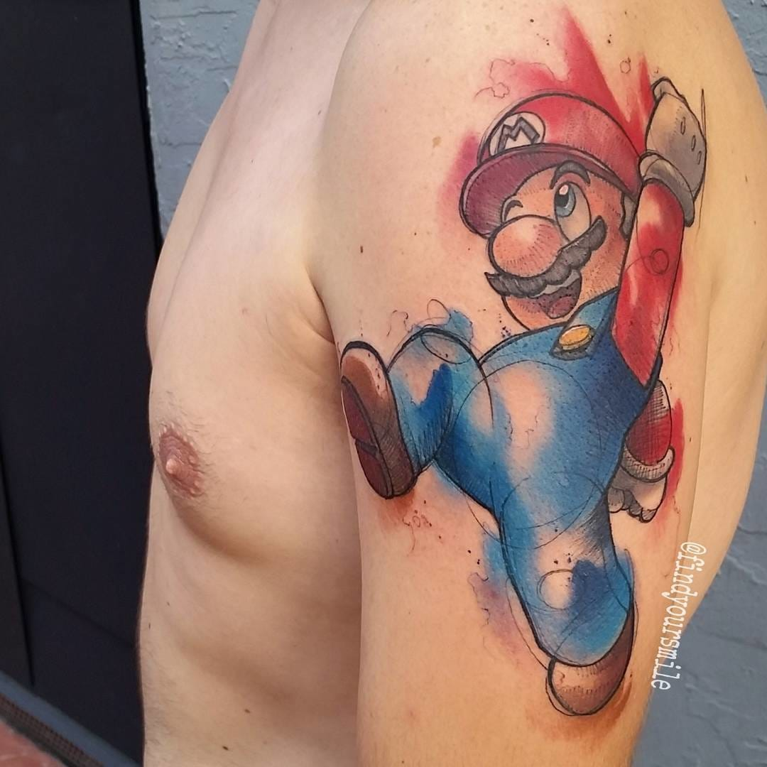Mario Tattoo by Russell Van Schaick
