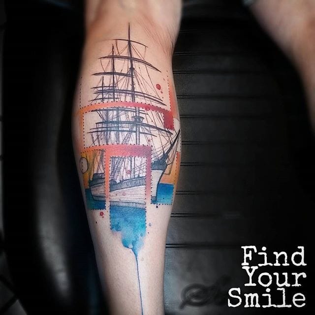 Ship Tattoo by Russell Van Schaick