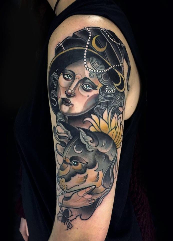 Witch and wolf tattoo