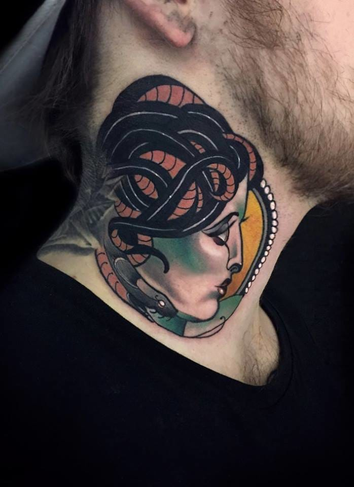 Medusa tattoo on the neck by Chris Green.
