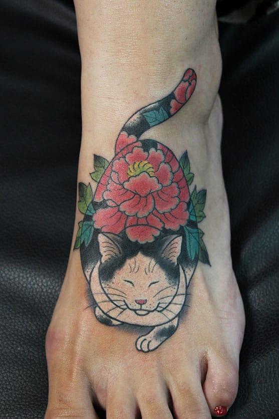 Monmon Cat Tattoo by Horitomo