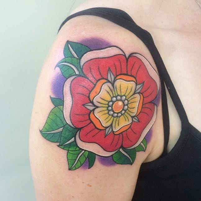 English Emblems: The Heraldic Tudor Rose Tattoo