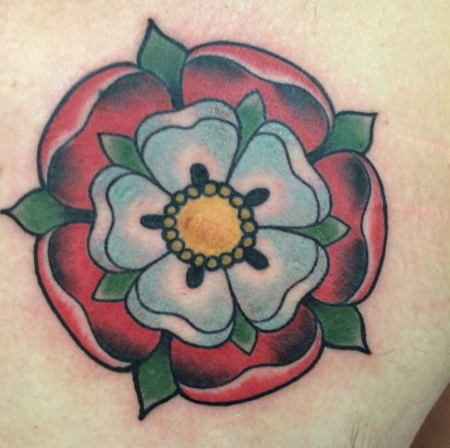 Tudor rose tattoo by Kyle Joseph-Carpino, Washington, USA. Photo Instagram @kyletattoos