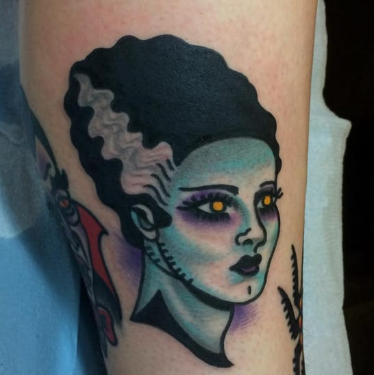 Frankenstein's monster bride tattoo. Photo taken from Instagram @larsontattoos111