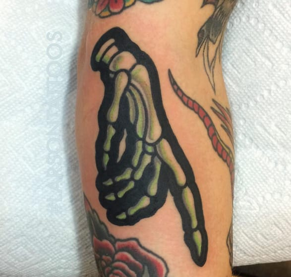 Skeleton hand tattoo. Photo taken from Instagram @larsontattoos111