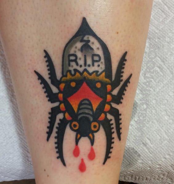 RIP spider tattoo. Photo taken from Instagram @larsontattoos111