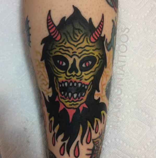 Demon head tattoo. Photo taken from Instagram @larsontattoos111