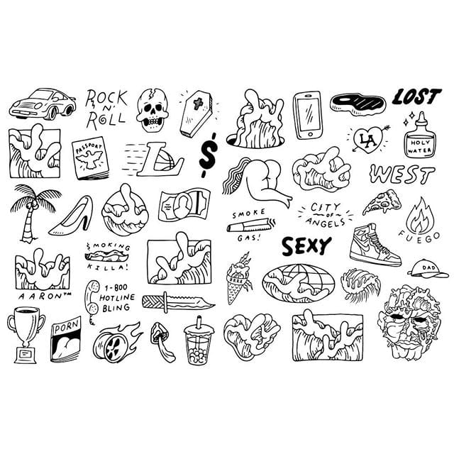 Some of Kai's tattoo designs