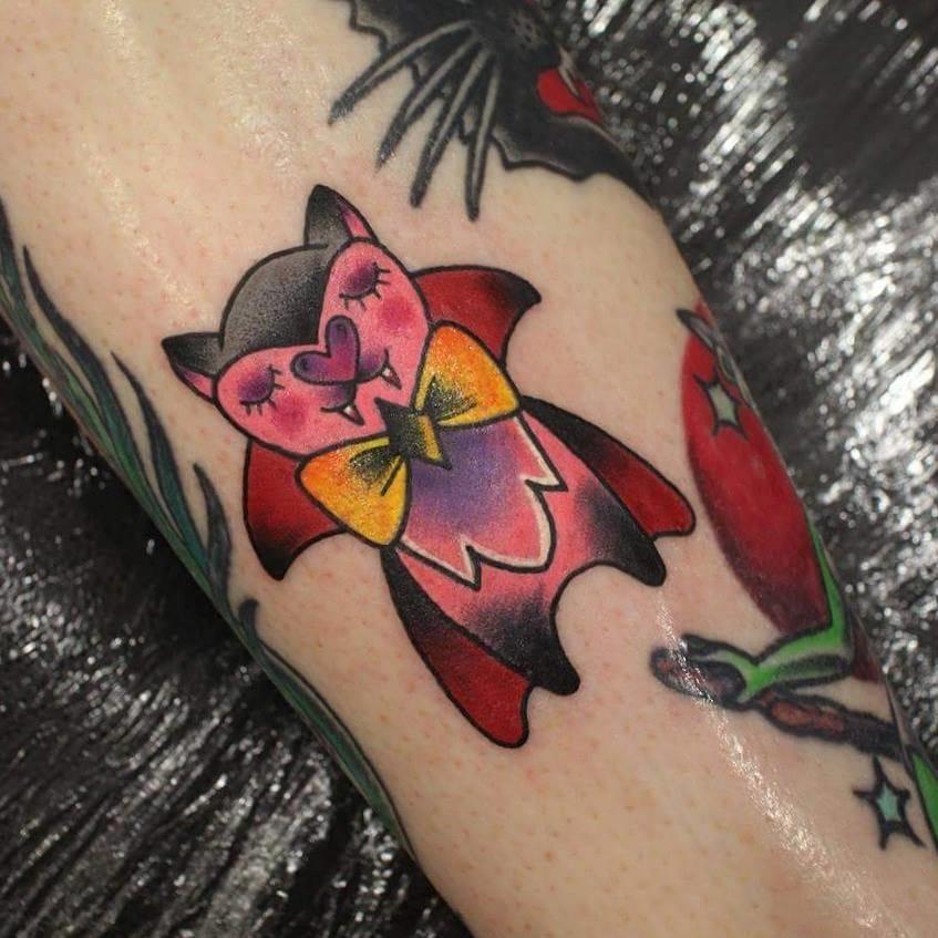 Vampire pig tattoo