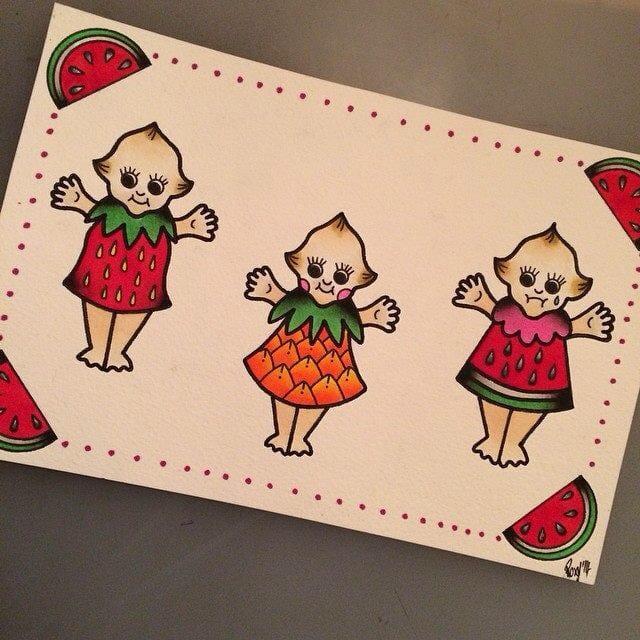 Fruit kewpie tattoo flash