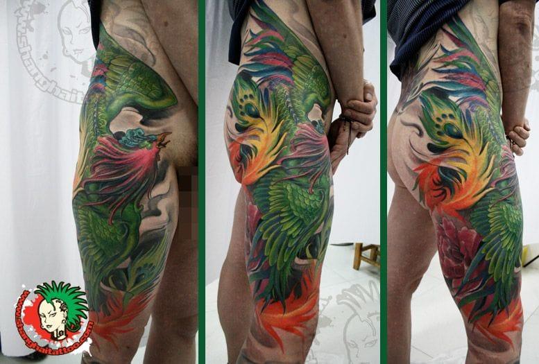 Great phoenix tattoo by Zhuo Dan Ting. #phoenix #zhuodanting