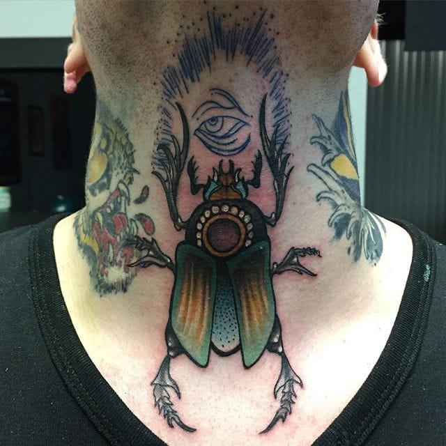 Throat Scarab Tattoo by Robby Adams