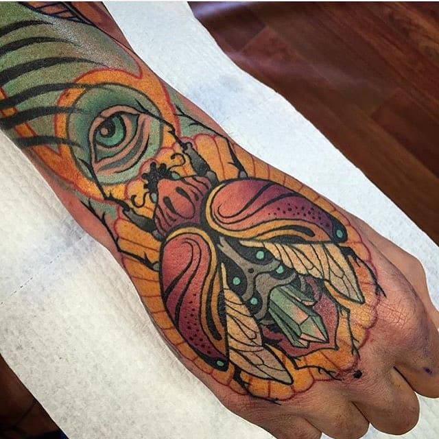 Cool Scarab Tattoo by Sam Clark