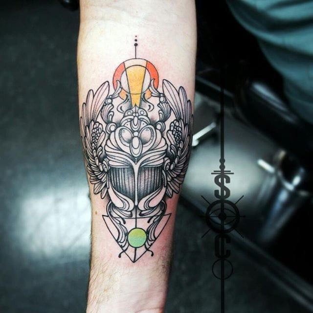 Creative Scarab Tattoo by Samantha Llanos-Castrovinci