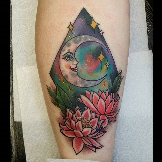 Night Sky and Moon Tattoo by Paula Castle