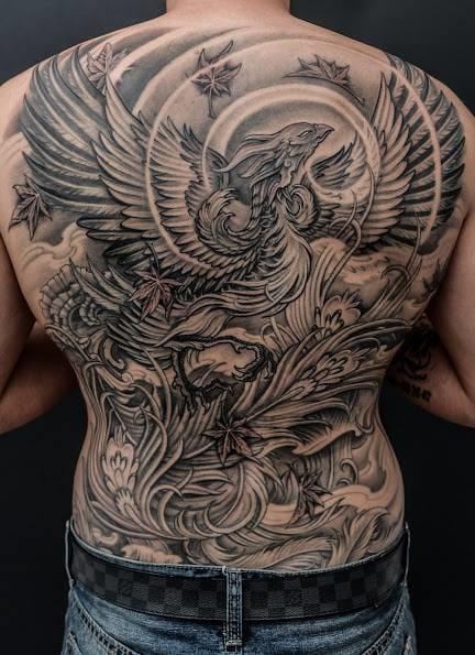 Impressive backpiece phoenix tattoo by Winson! #phoenix #winson