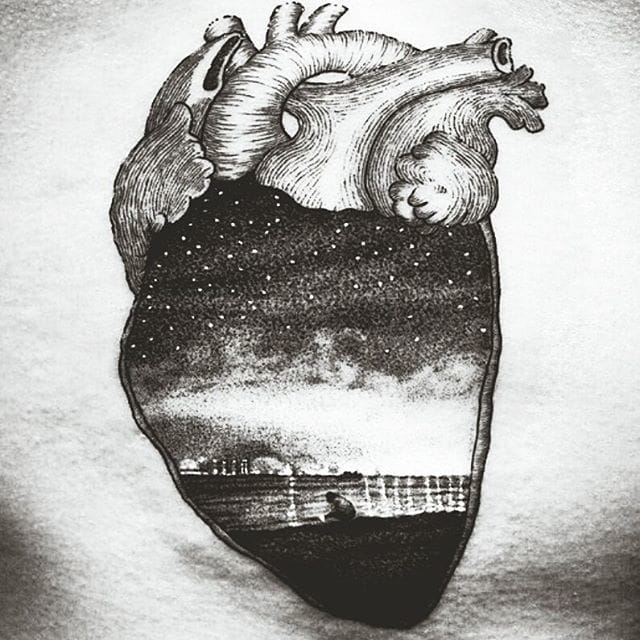 Brlliant Night Heart Tattoo by Dylan Kwok