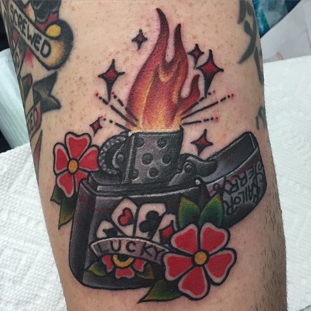 Awesome Lighter Tattoo by Amanda Creek
