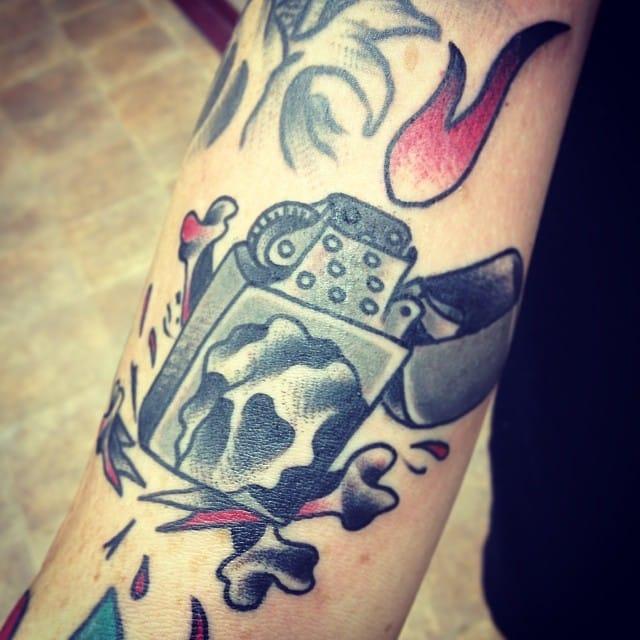 Badass Lighter Tattoo by Jake Pierson