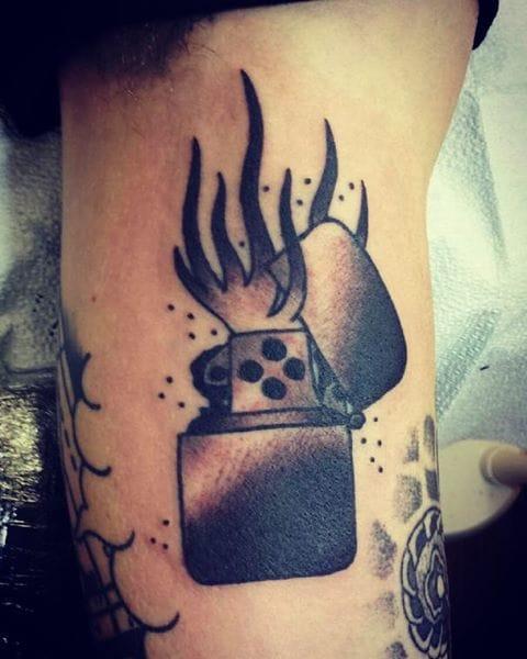 Blackwork Lighter Tattoo by Mark Jansen