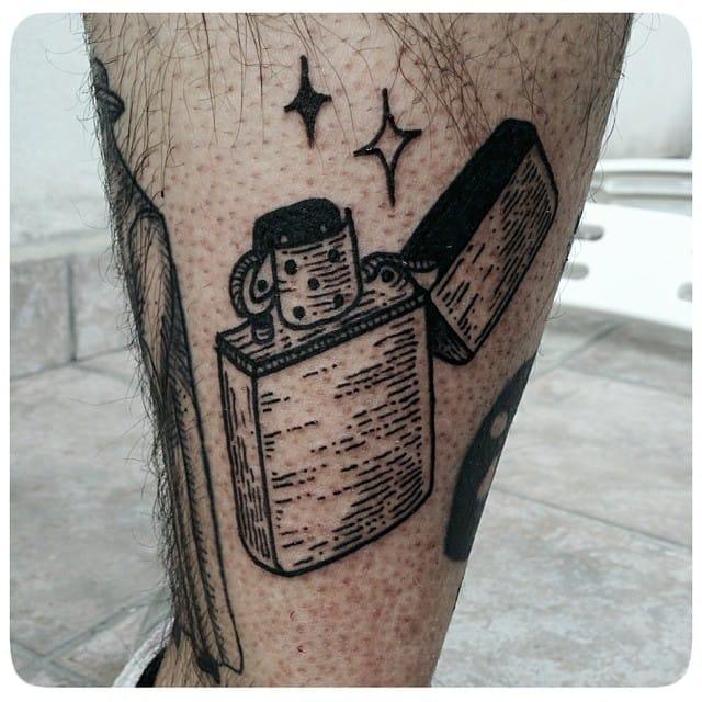 Linework Lighter Tattoo by Matteo Figus