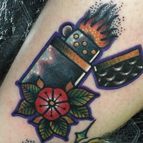 Old School Lighter Tattoo by Spencer Webb