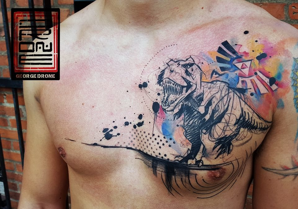 Dinosaur tattoo by George Drone.