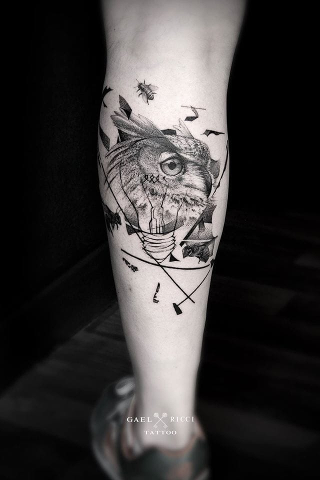 So many different images to spot in this detailed tattoo.