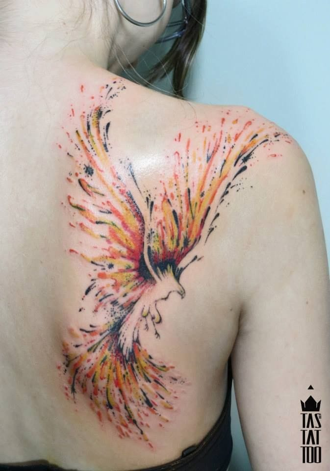 Just the flames, nice phoenix tattoo by Rodrigo Tas. #phoenix #rodrigotas