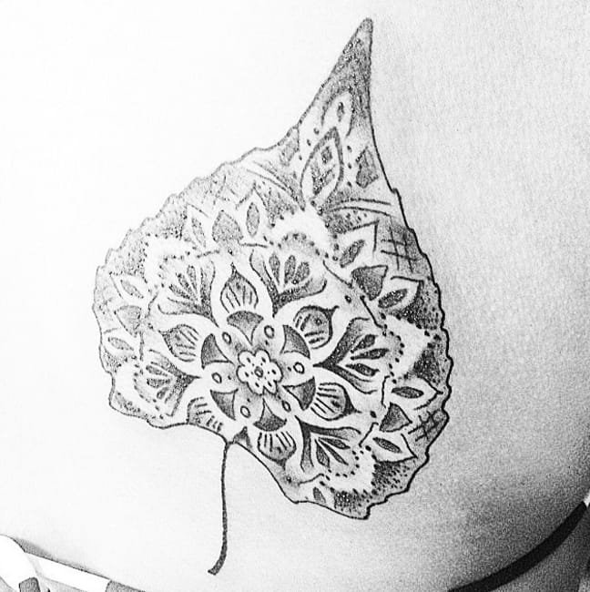 Poplar leaf. Artist unknown, from Instagram @lizzierose3.
