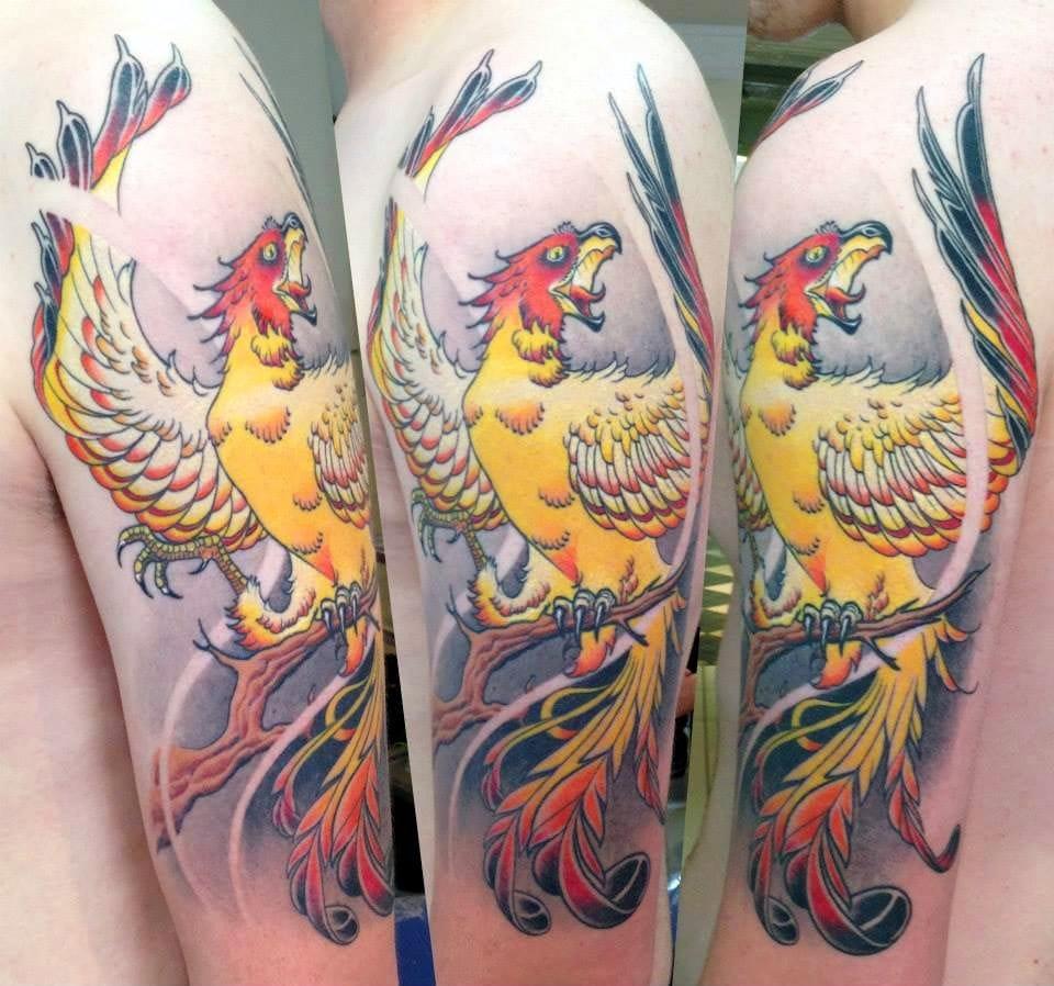 Love this phoenix tattoo by Popeye Tatwo, good vibes here! #popeyetatwo #pheonix