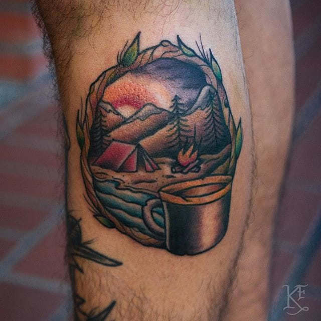 Camping Tattoo by Kevin Flemming