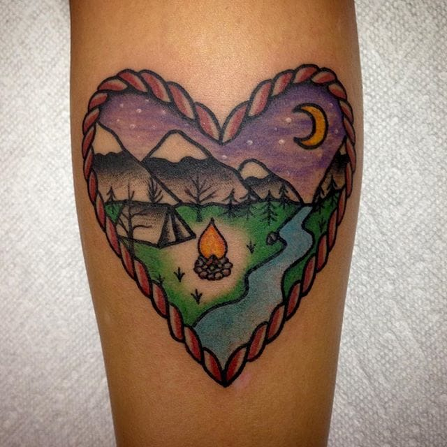 Heart Camping Tattoo by Mike Attack